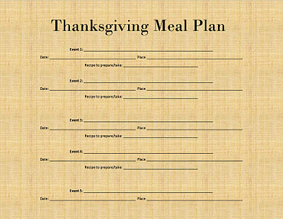 Thanksgiving Meal Plan & Ingredient List Printable