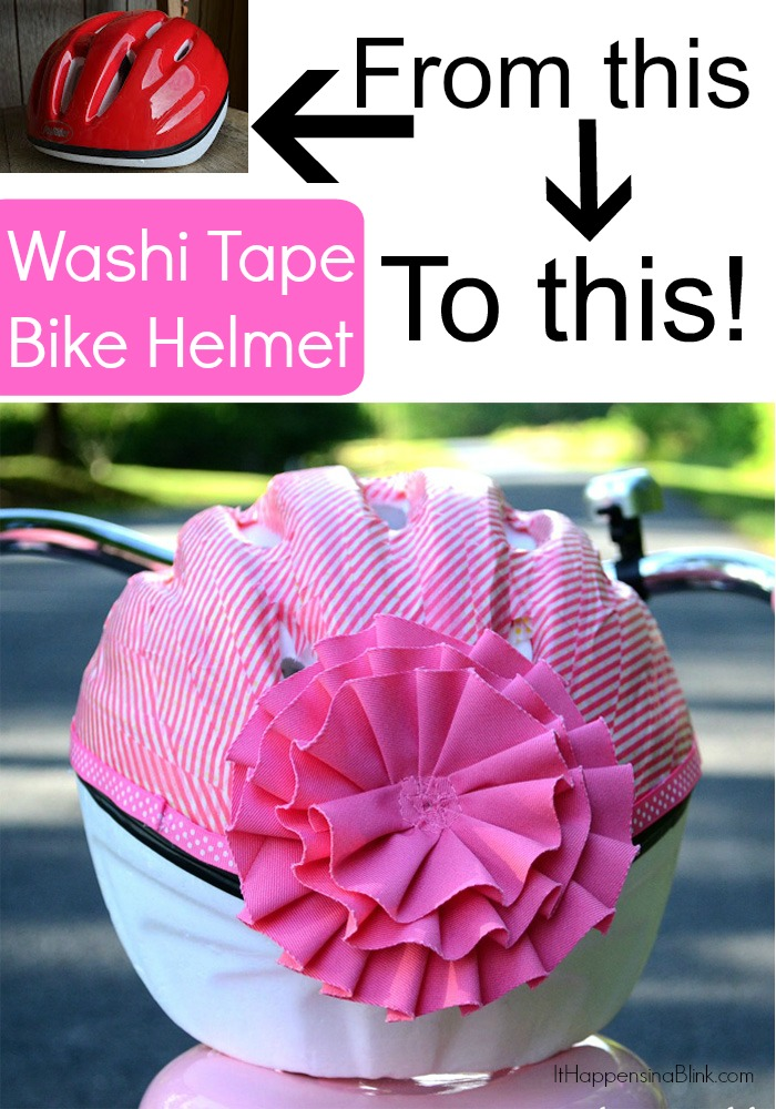 Washi Tape Bicycle Helmet  |  Cover a free bike helmet in washi tape and embellish it to make it girly!