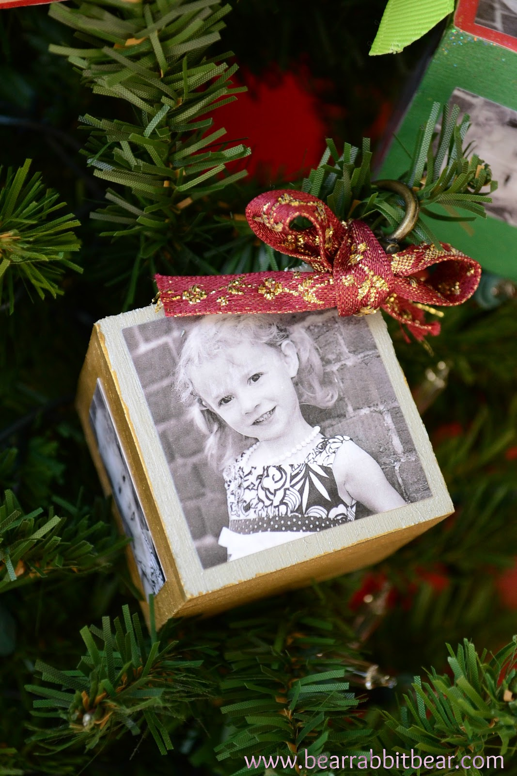 Option Two: {Papered} Christmas Photo Block Ornaments