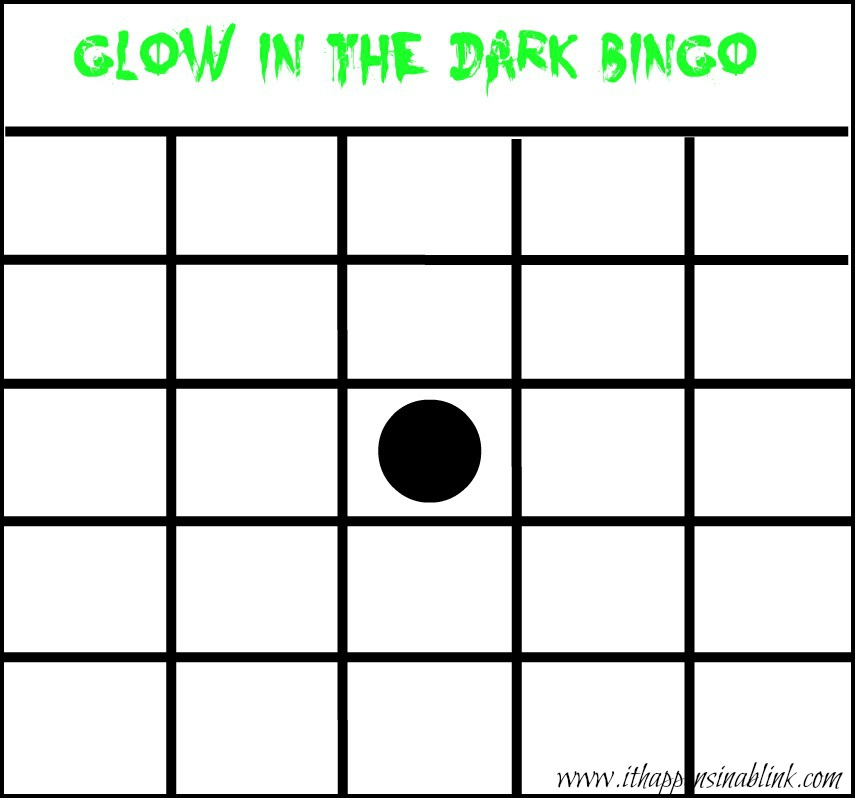 Glow in the Dark Bingo Card