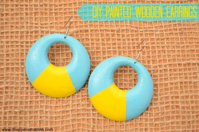 DIY Paint & Mod Podge Wooden Earrings from It Happens in a Blink