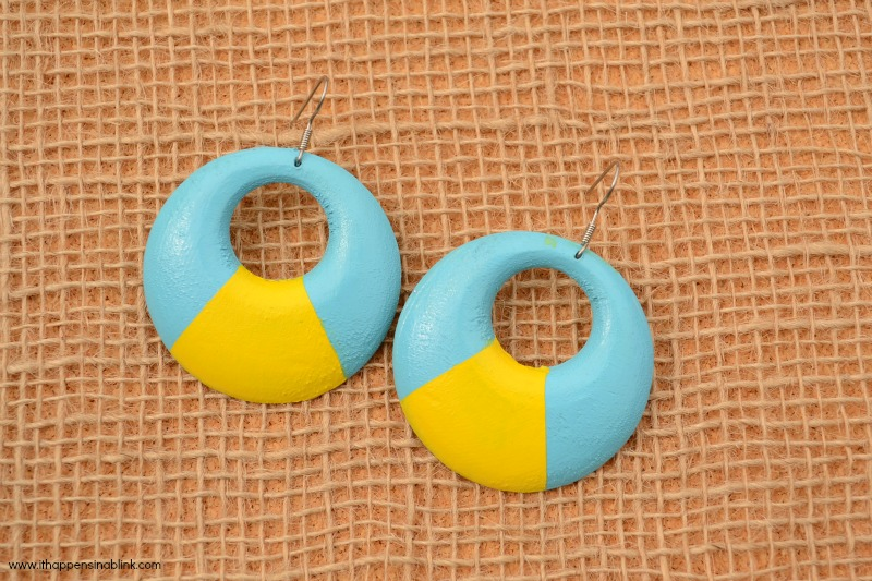 Painted Wood Earrings from It Happens in a Blink