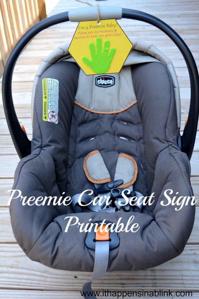 Preemie Car Seat Sign from It Happens in a Blink