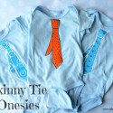 Skinny Tie Onesies with Fabric Paint Embellishment