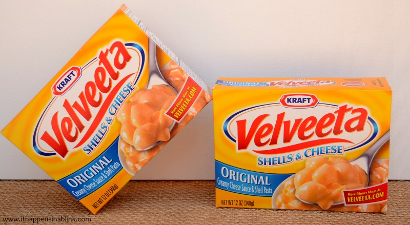 Velveeta Shells and Cheese box from It Happens in a Blink