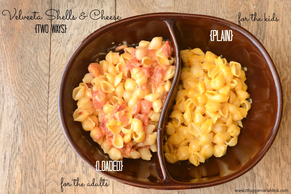 Velveeta Shells and Cheese two ways from It Happens in a Blink