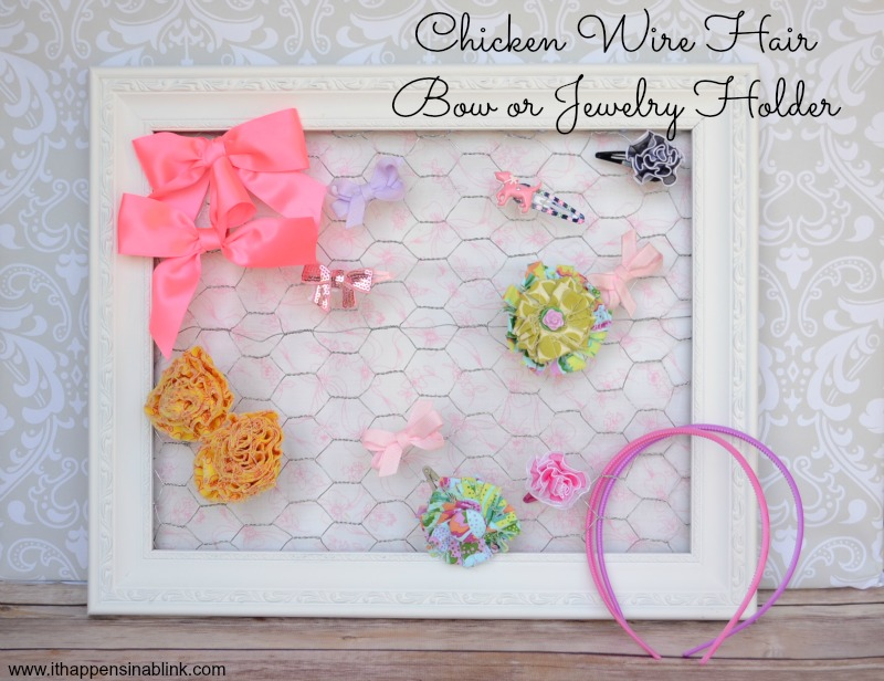Chicken Wire Hair Bow Holder or Jewelry Holder with Fabric Backing