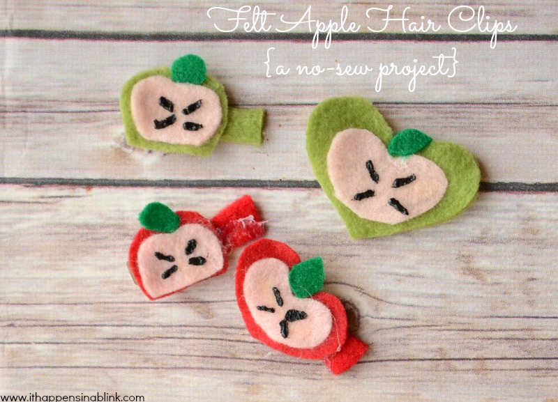 Felt Apple Hair Clips