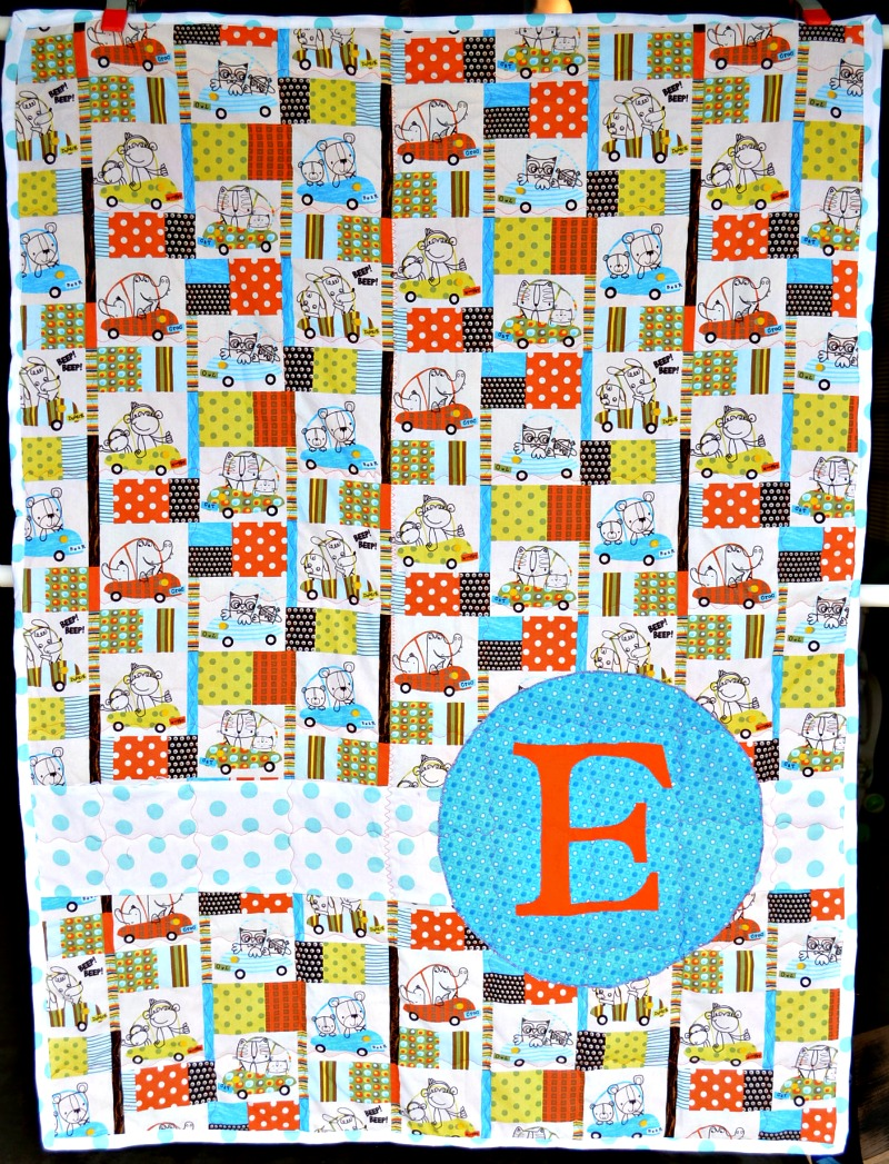 Monogram Baby Quilt from It Happens in a Blink