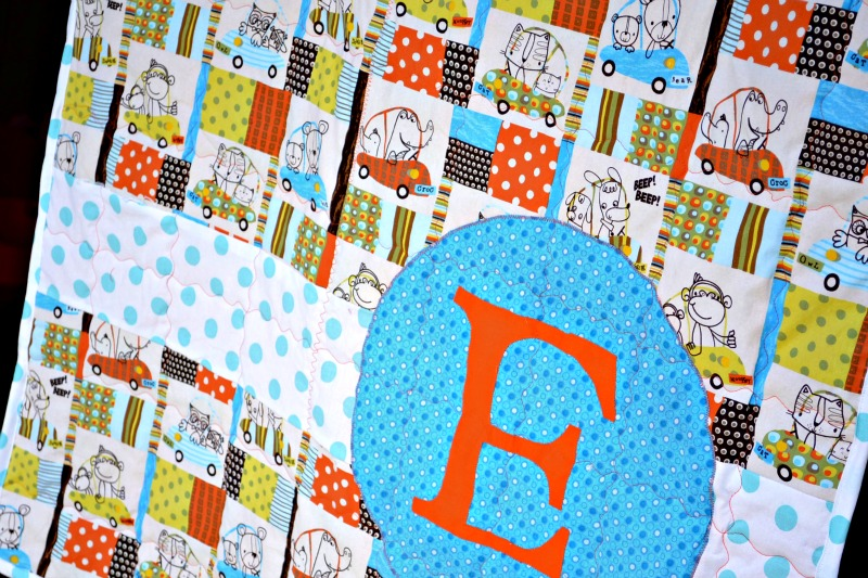 Monogram Crib Quilt from it Happens in a Blink