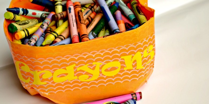 Washi Tape Milk Jug Crayon Carton from It Happens in a Blink