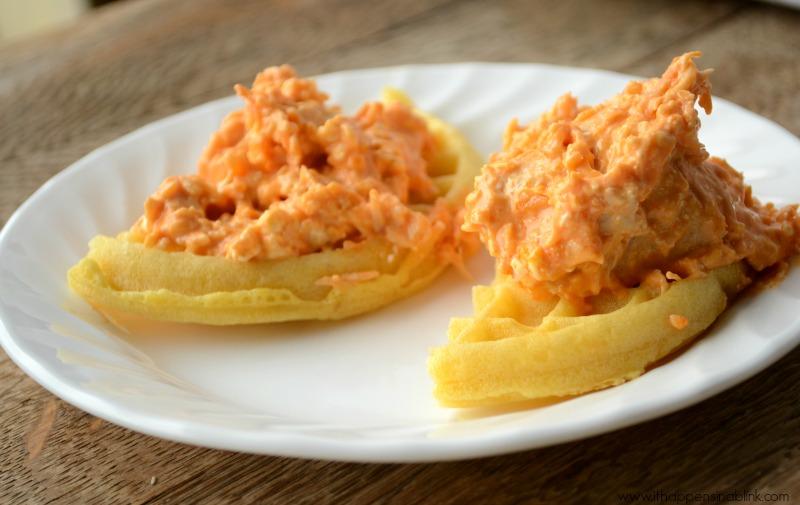 Buffalo Chicken Dip & Waffles from It Happens in a Blink #EggoWaffleOff #Sponsored