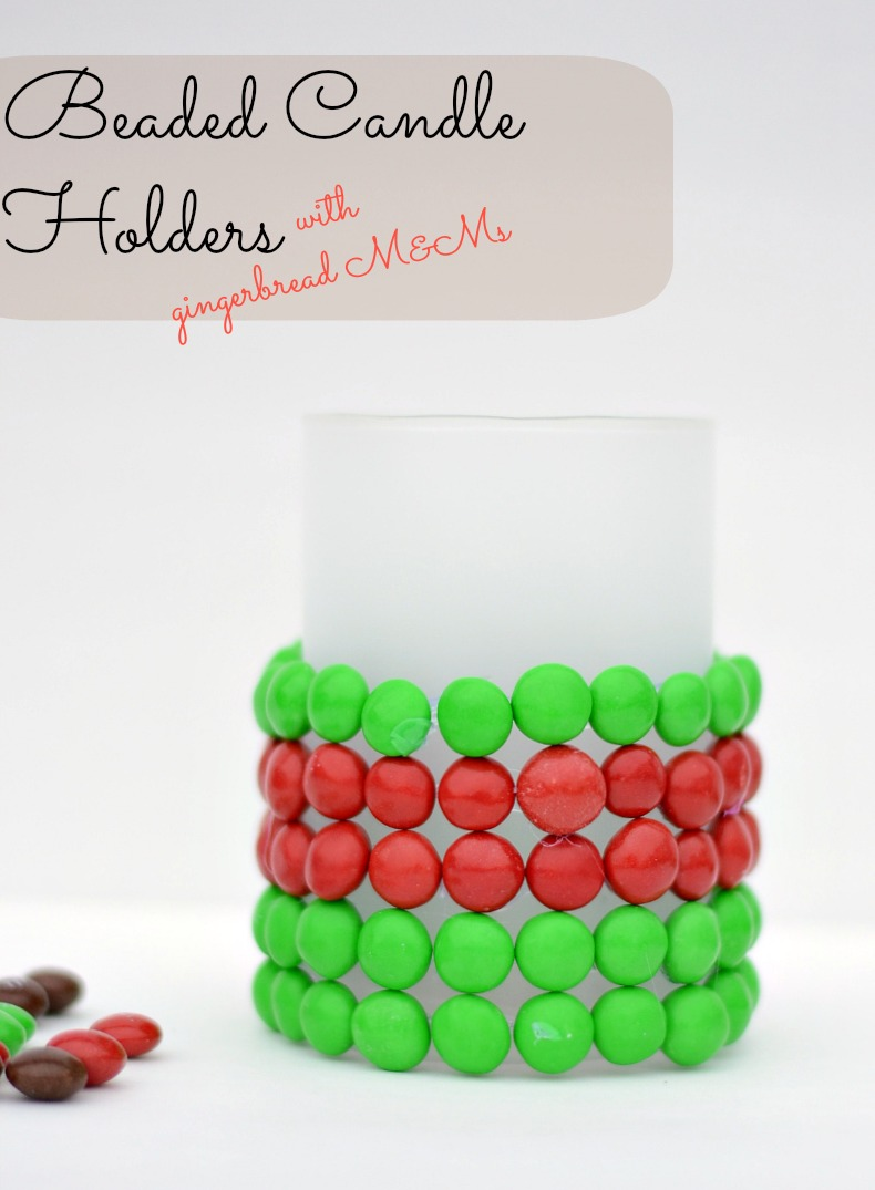 Beaded Candleholders Made with M & Ms #HolidayMM #shop #cbias
