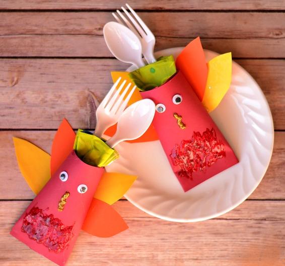 Kids Thanksgiving Turkey Cutlery Holder