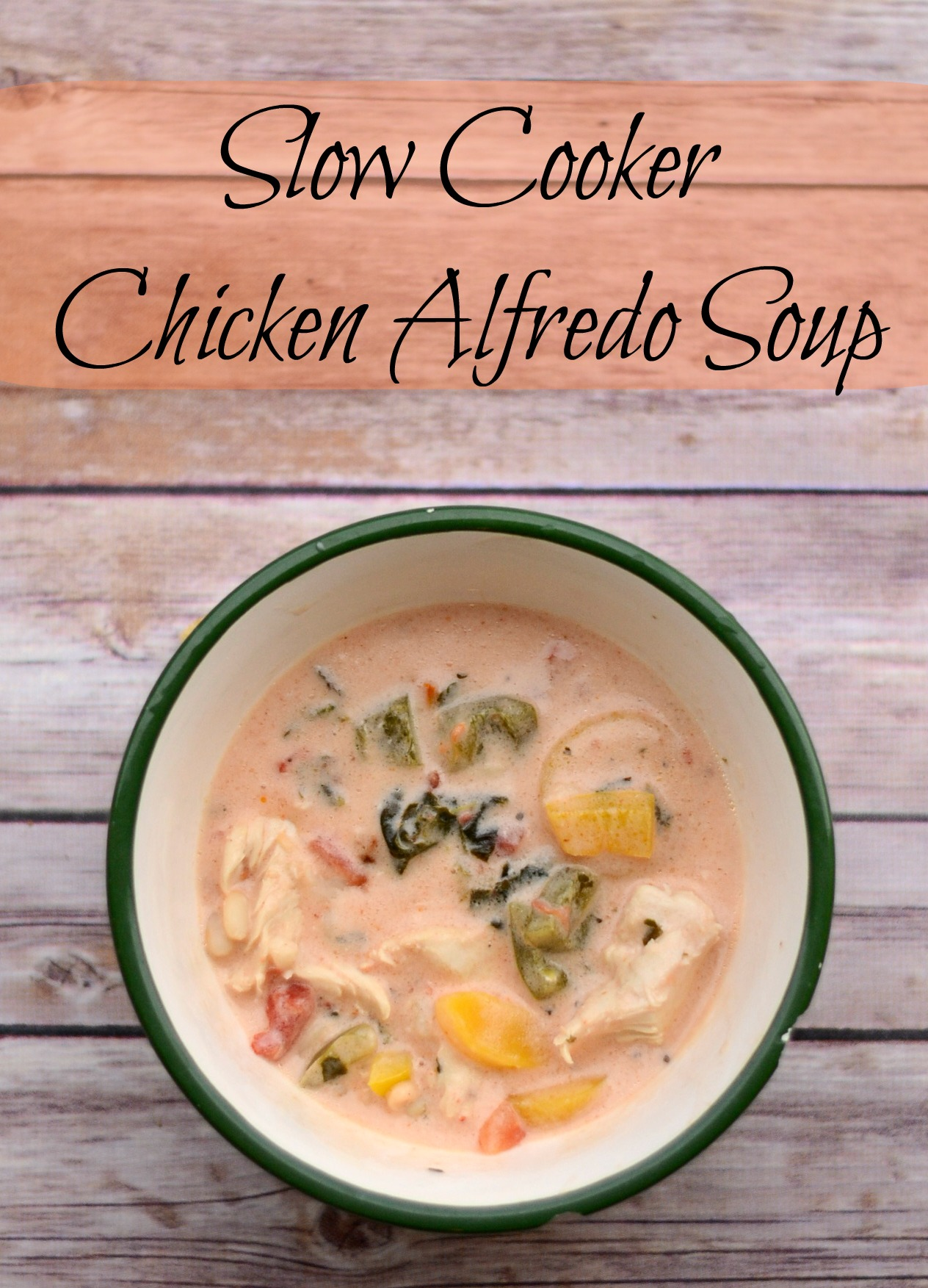 Slow Cooker Chicken Alfredo Soup with #STARoliveoil #shop #cbias