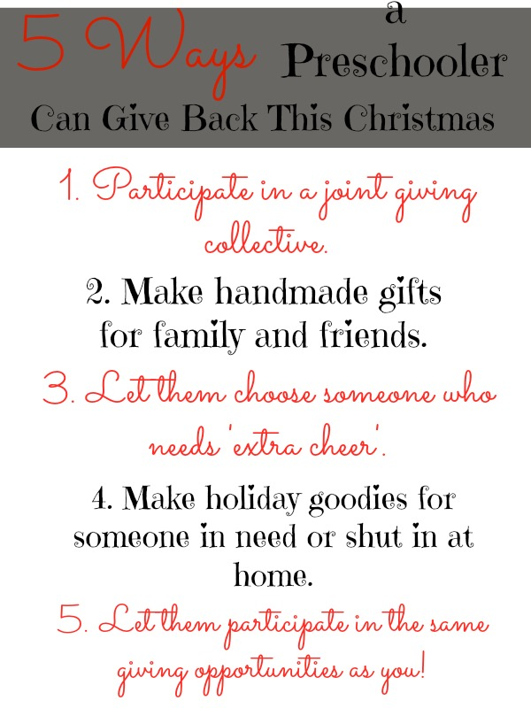 5 Ways a Preschooler Can Give Back This Christmas