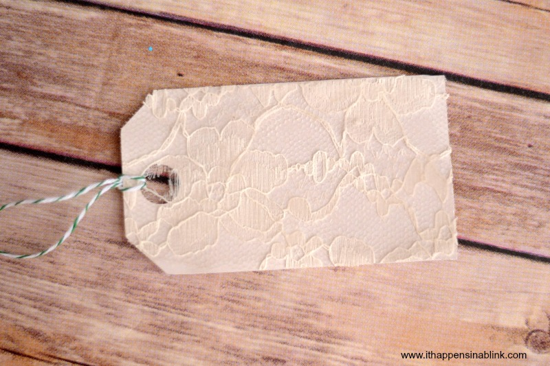Lace Covered Gift Tag from It Happens in a Blink