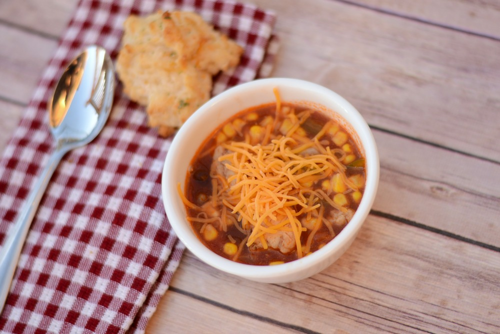 #ad Slow Cooker Chicken Enchilada Soup #JustAddTyson #cbcias