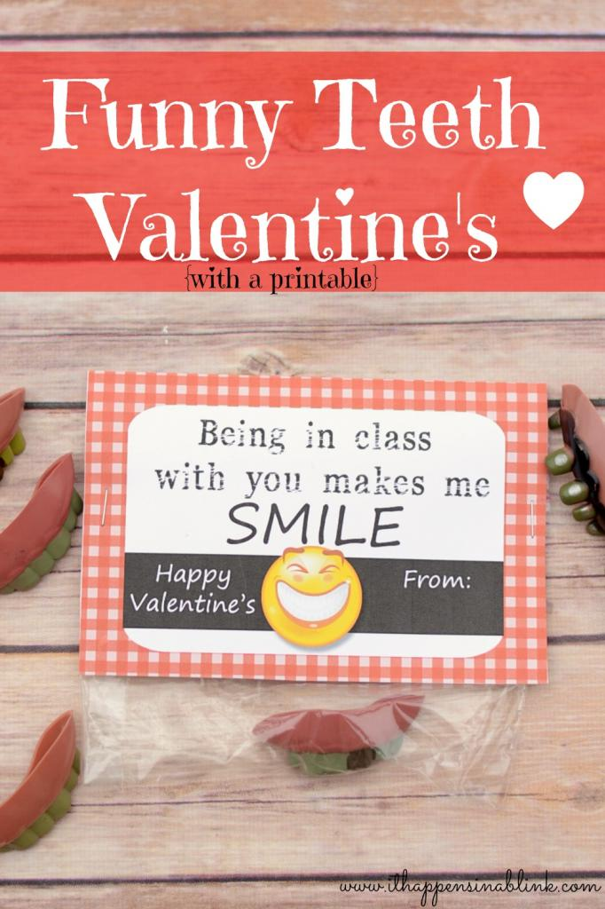 Fun Teeth Valentine's with Free Printable from It Happens in a Blink