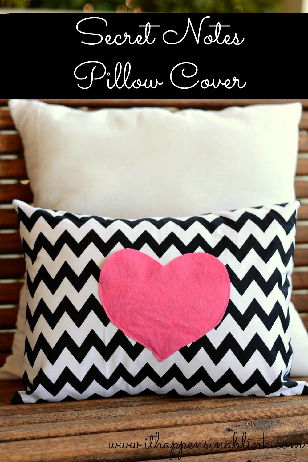 Secret Love Notes Envelope Pillow Cover Tutorial from It Happens in a Blink