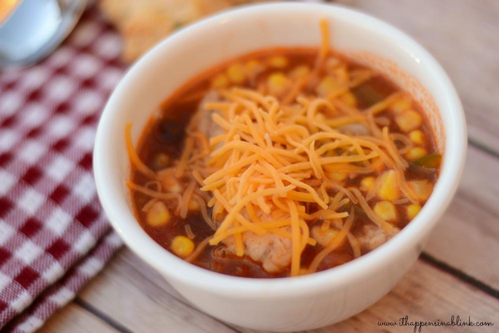 #ad Slow Cooker Chicken Enchilada Soup #JustAddTyson #cbias