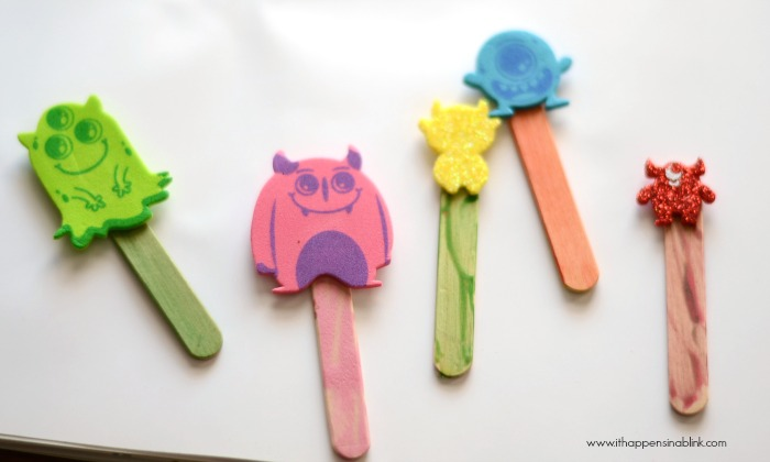 Easy Monster Stick Puppets from It Happens in a Blink