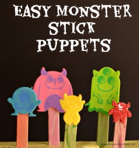 Easy Monster Stick Puppets from It Happens in a Blink- make these in minutes for a fun preschool craft