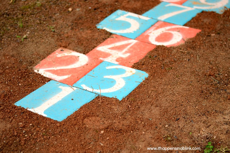DIY Outdoor Hopscotch with pavers from It Happens in a Blink