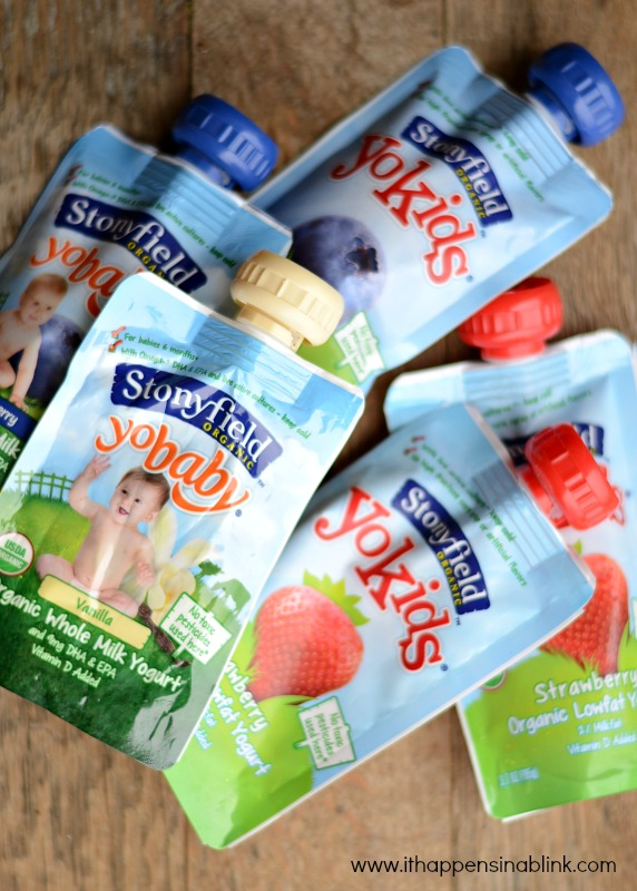Stonyfield Yobaby and Yokids Yogurt pouches