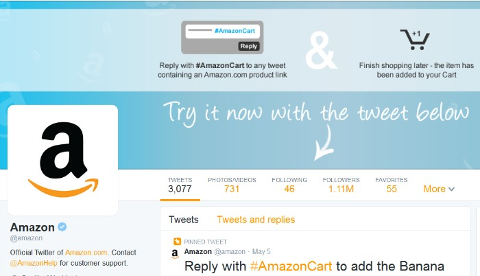 Amazon Twitter site #AmazonCart #cbias #sponsored