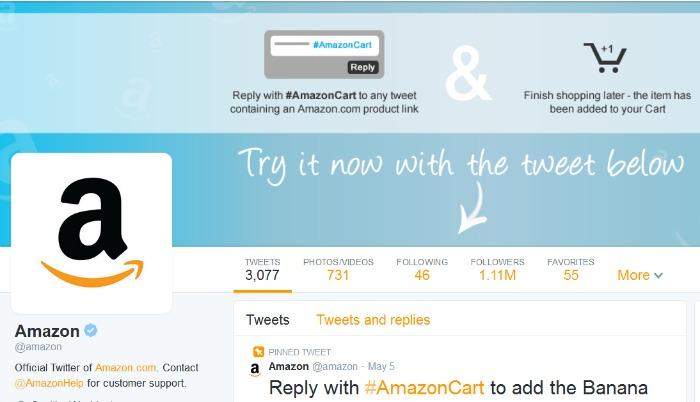Amazon Twitter site #AmazonCart #cbias #sponsored