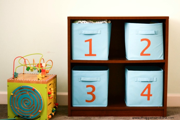 Easy Kid's Storage Solution from It Happens in a Blink