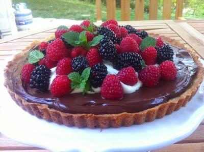 Double Chocolate Raspberry Cheesecake Tart from It's Yummi
