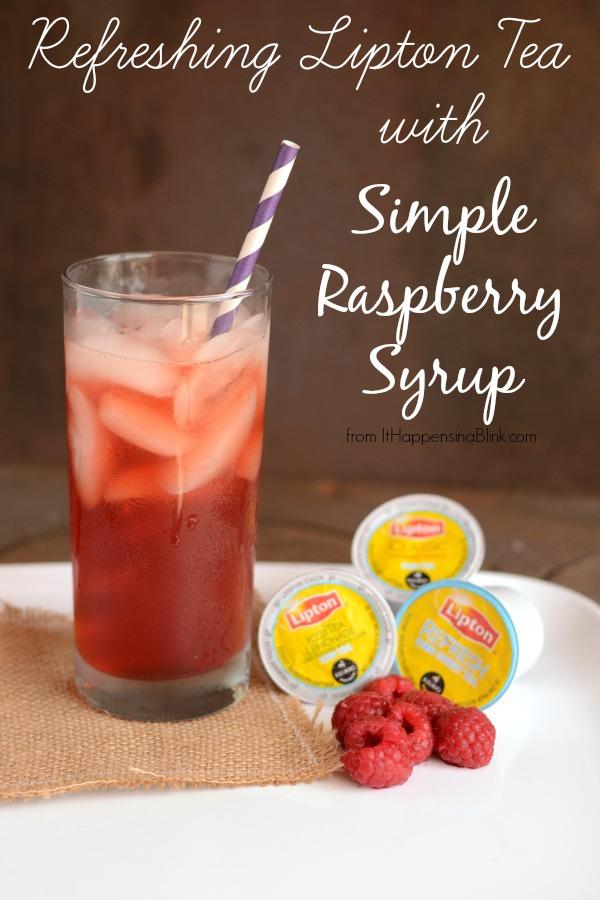 Raspberry Lipton Tea with Simple Raspberry Syrup #ad #PMedia #bemoretea
