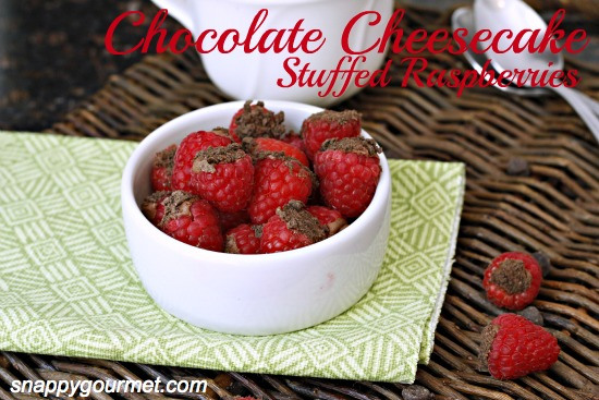 Chocolate Cheesecake Stuffed Raspberries from Snappy Gourmet