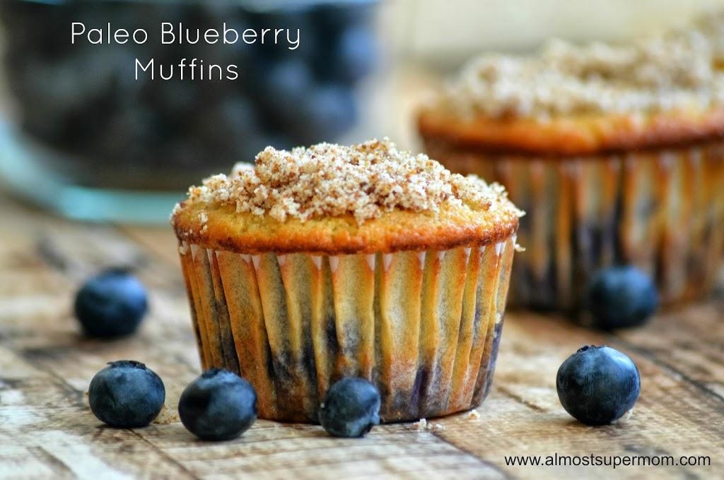 Paleo Blueberry Muffins from Almost Supermom