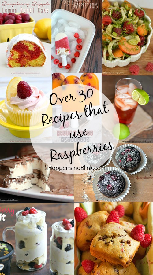 Over 30 Recipes that Use Raspberries from It Happens in a Blink