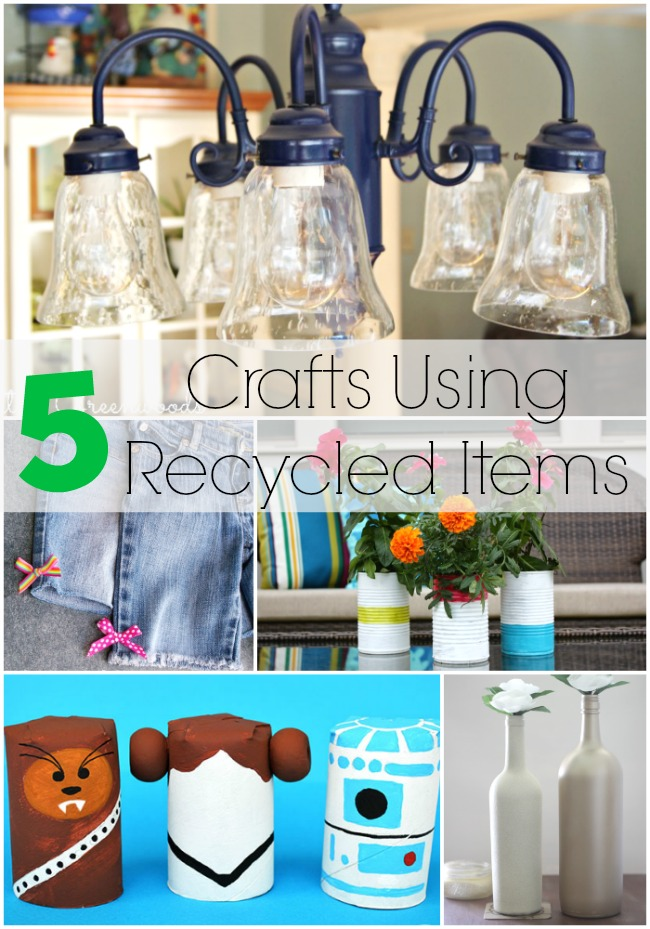 5 crafts using recycled items and the project stash for Project using recyclable items