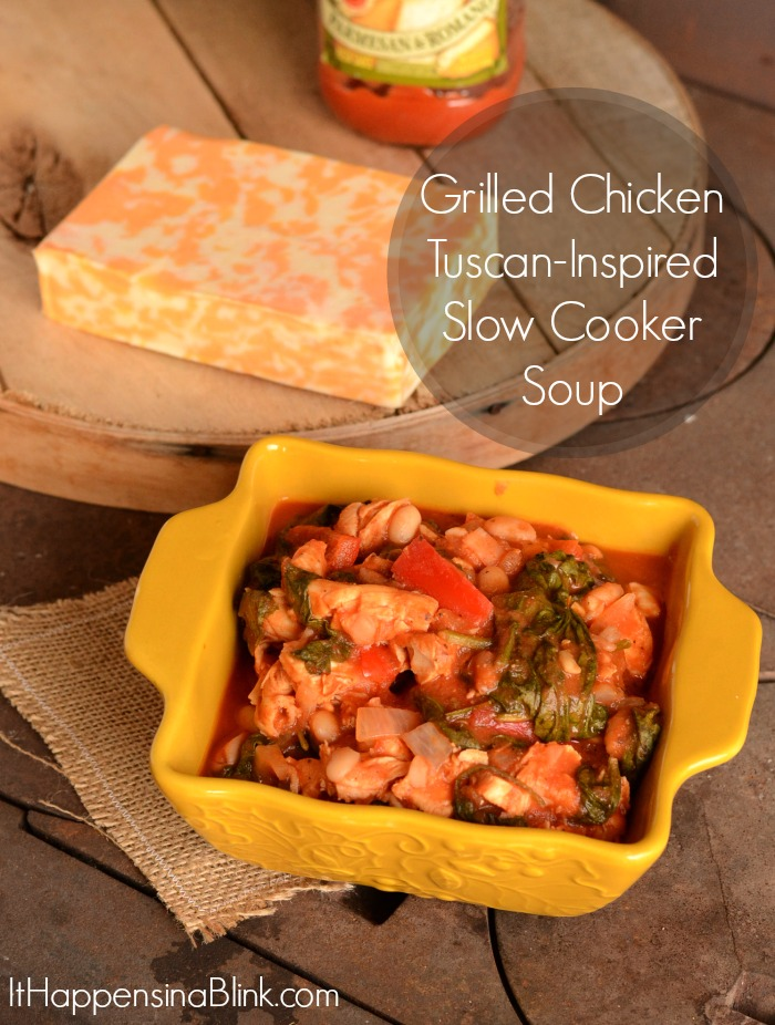 Left Over Grilled Chicken Tuscan Inspired Slow Cooker soup