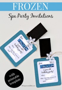 DIY FROZEN Spa Themed invitations | ItHappensinaBlink.com