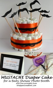 Mustache Diaper Cake for a Baby Shower Photo Booth #BabyDiapersSavings #CollectiveBias #shop |  ItHappensinaBlink.com