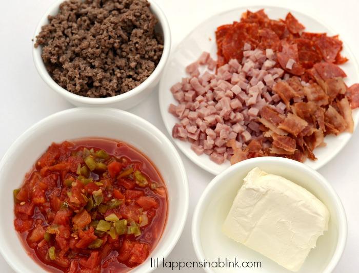 Meatlover's Queso Dip   ItHappensinaBlink.com #SamsClubTailgating #sponsored