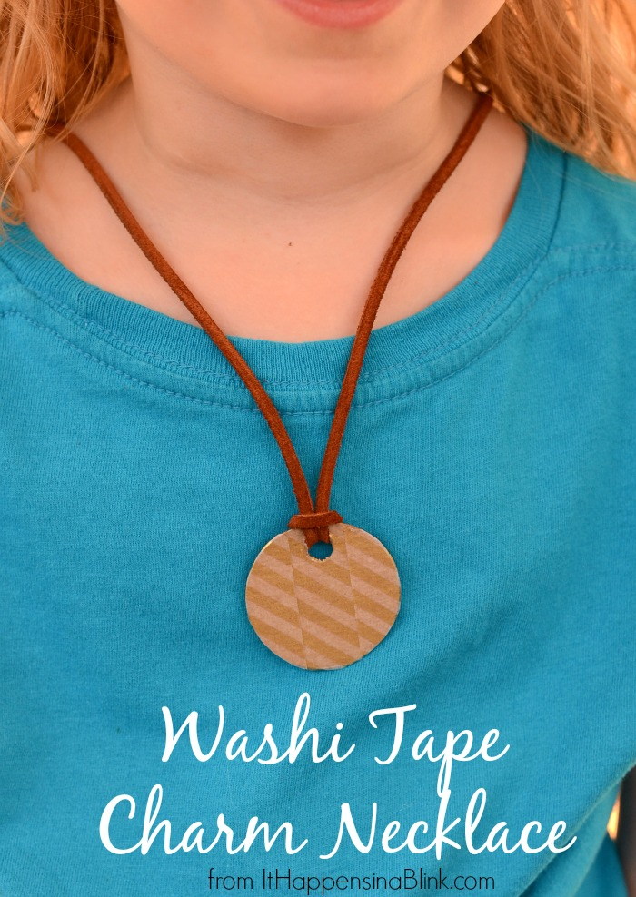 Easy Washi Tape Charm Necklace   |    ItHappensinaBlink.com