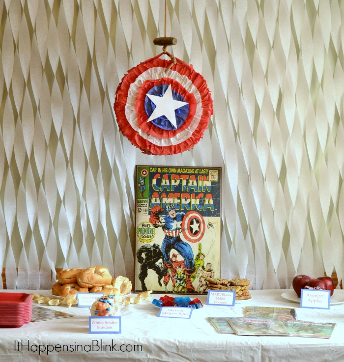 Captain America Party Ideas  |  ItHappensinaBlink.com  |  #HeroesEatMMs  #shop #cbias