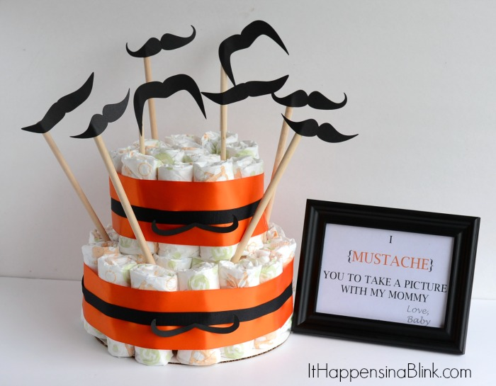 Mustache Diaper Cake  #BabyDiapersSavings #CollectiveBias  #shop