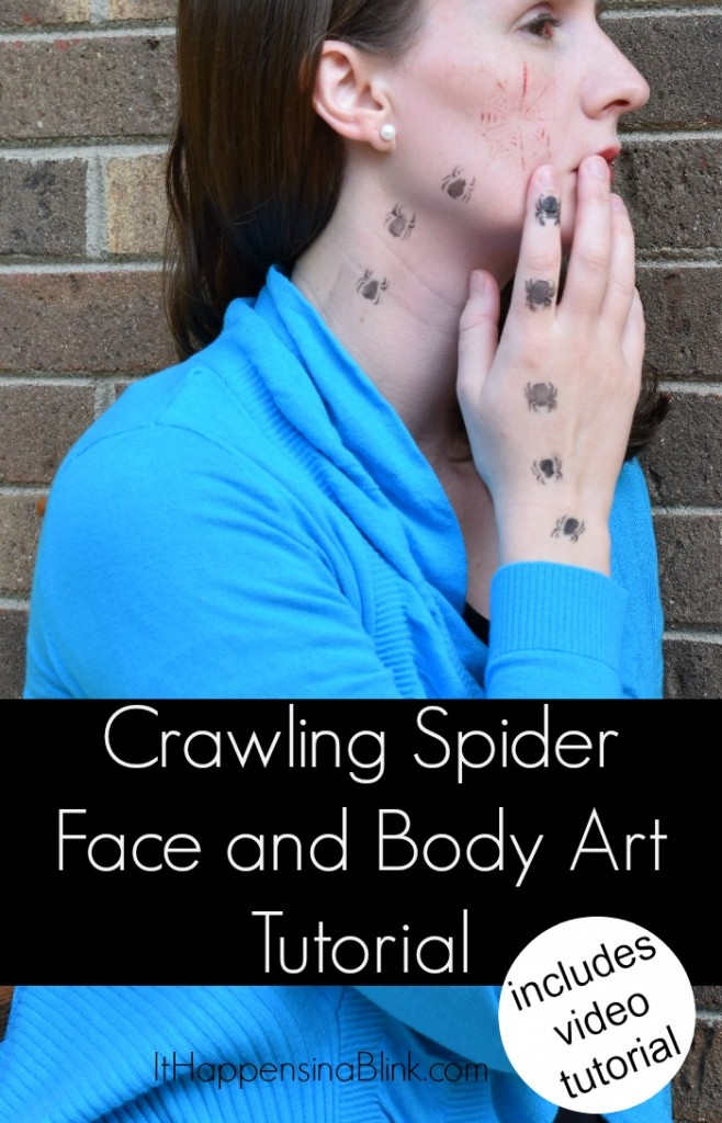 Crawling Spider Face and Body Art #TulipBodyArt #sponsored  |  Use stencils to create an easy Halloween body art