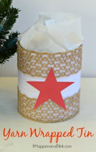 Yarn Wrapped Tin | ItHappensinaBlink.com | Recycle a tin into a gift container. Great Project for using yarn scraps.