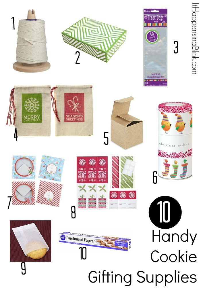 10 Handy Cookie Gifting Supplies  |  ItHappensinaBlink.com  |   Get inspiration for wrapping cookies for gifts and for cookie exchange parties
