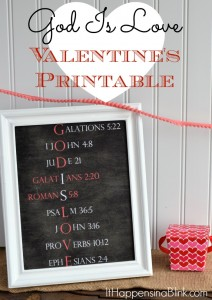 God Is Love Valentine's Day Printable | Get this free printable for Valentine's Day. Includes a Bible verse about love for each letter.