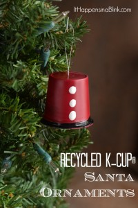 Recycled K-Cup® Santa Ornament | Use an empty K-Cup® to create this Santa ornament. It's a fun recycled craft for Christmas!